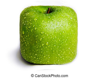 Isolated square Green Apple - A single green apple in the...