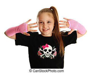 Portrait of a young girl with punk gloves - Cute young girl...