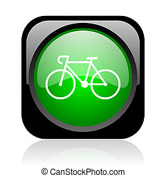 bicycle black and green square web glossy icon