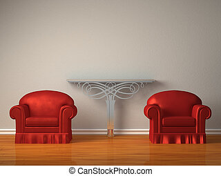 Two red chairs with metallic console in minimalist interior
