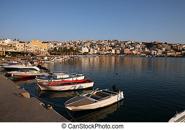 Sitia harbour with boats Crete Greece