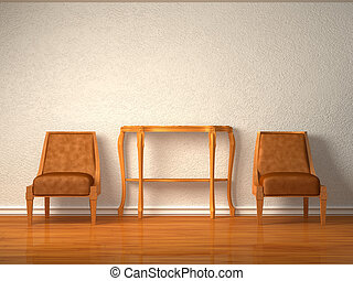 Two luxurious chairs in interior