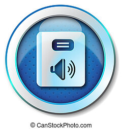Audiobook icon - Illustration metallic icon for web...