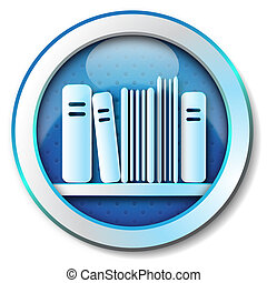E-book library icon - Illustration metallic icon for web...