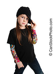 Portrait of a punk rock young girl with hat - Cute young...