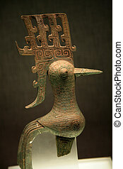 Small Bronze Bird Sanxingdui Museum Chengdu Sichuan China -...