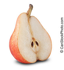 Ripe pear isolated on white background. Clipping Path