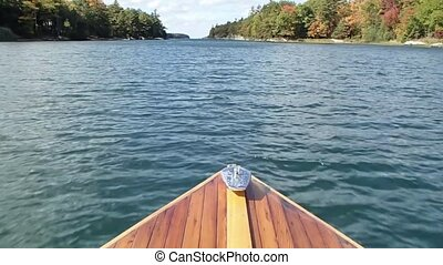 Cedar Strip Boat in the Water - A cedar strip motor boat...