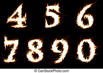 numerals - blazing numerals isolated on black