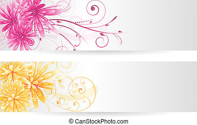 Banners with abstract flowers