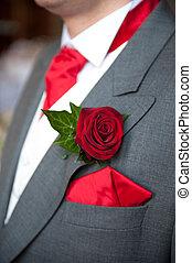 Ojal, rosa, novio, rojo, boda