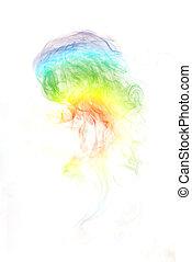rainbow smoke on white