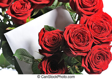 bunch of red roses - bouquet of red roses with greeting card...