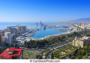 Malaga, Spain - aerial view of the port and the coastline of...