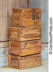 Old wood boxes - Stacks of grunge and old wood boxes