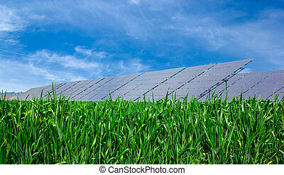 Solar panels. - Solar panel on green grass and blue cloudy...