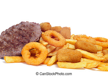 spanish fattening food: burgers, croquettes, calamares and french fries, on a white background