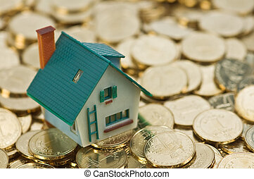 house on gold coins closeup