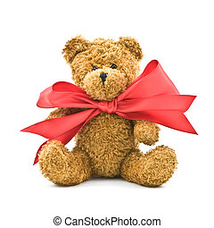 bear - teddy bear with red bow