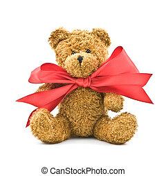 bear - teddy bear with red bow