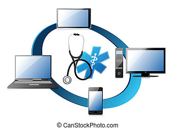 medical network concept illustration design over a white...