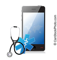 smartphone medical app with a Stethoscope illustration...