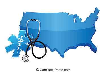 USA healthcare concept with a Stethoscope illustration...