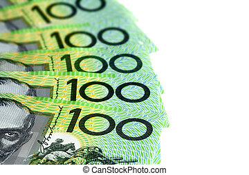 Australian One Hundred Dollar Bills over White