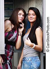 falando,  Payphone, mulheres, dois, jovem