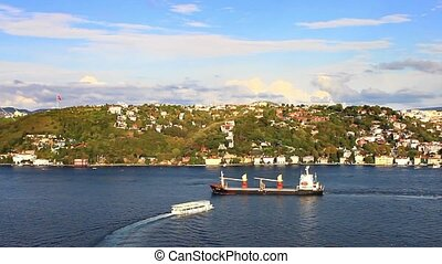 Cargo ship sailing - Freight ship sailing into Black Sea in...