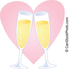 Champagne heart - Champagne toast over heart, romantic...