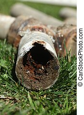 Corroded and Blocked Steel Household Pipes - Very Old...