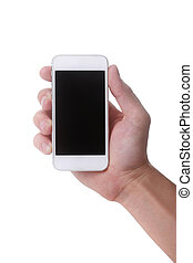 Hand Holding a Touch Smart Mobile Phone - Male Hand Holding...