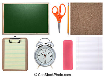 Chalkboard, Paper, Scissors, Pencil and Corkboard Isolated -...
