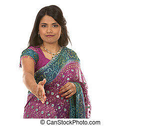 indian woman - pretty indian woman on white isolated...