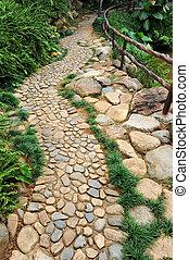 Cobblestones in a walkway