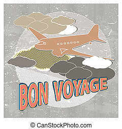 Travel Destination Vector - Retro Vintage bon voyage vector...