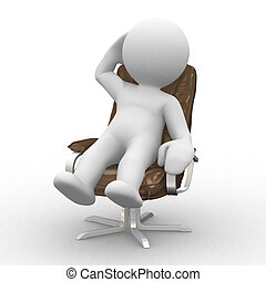 manager rest - 3d supervisor manager in chair
