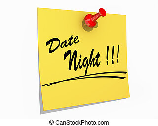 Date Night White background - A note pinned to a cork board...