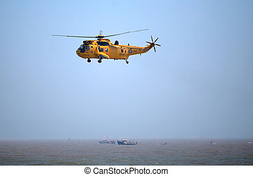 RAF rescue helicopter in flight - LOWESTOFT, Suffolk - July...