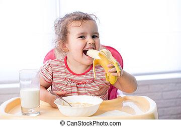 kid girl eating healthy food