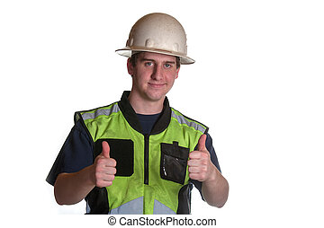 Construction Worker in safety jacket giving thumbs up