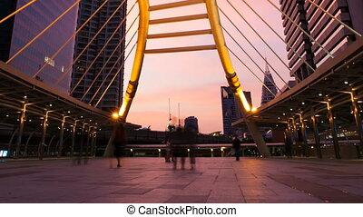 People on Footbridge in Bangkok