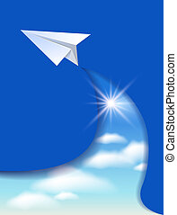 Paper airplane and clouds sky - Flyer template with paper...