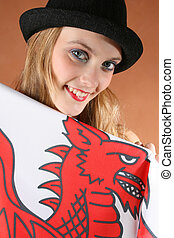 Wales - Beautiful young female model with a flag of Wales