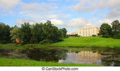 Grand palace on hill in Pavlovsk park Saint-Petersburg...