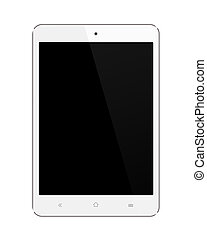 Small White Tablet Computer on white background