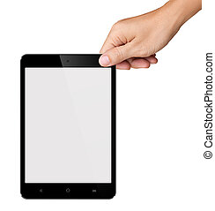 Hands are holding Small White Tablet Computer on white background