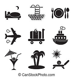 Travelling and accommodation icons - Set of nine black...