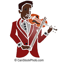 Violinist - Rendered artwork with white background